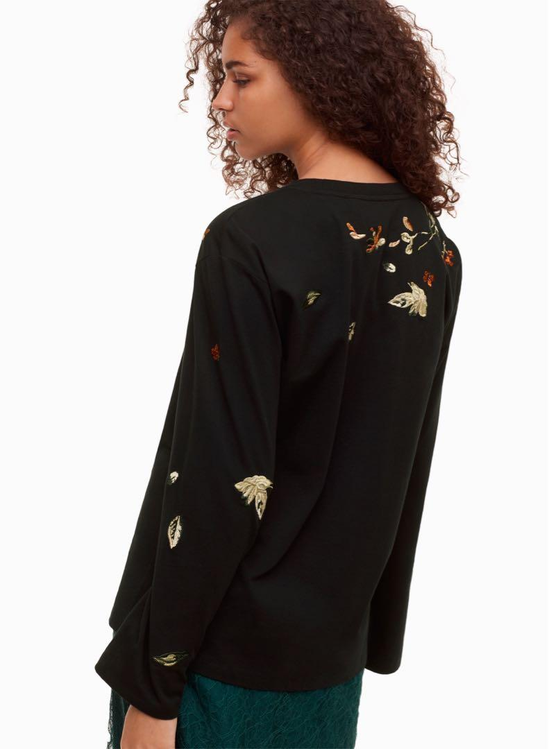 Aritzia little moon black long sleeve embroidered top