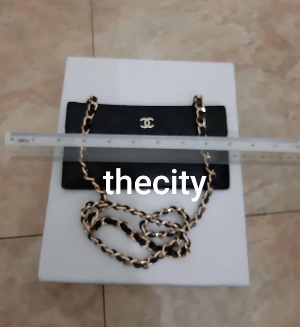 AUTHENTIC CHANEL QUILTED CC LOGO BLACK LAMBSKIN LEATHER FLAP VANITY - VERY GOOD CONDITION,  CLEAN INTERIOR - GOLD HARDWARE-  WITH EXTRA ADD. HOOKS & LONG CHAIN STRAP FOR CROSSBODY SLING - (CHANEL VANITY BAGS NOW RETAIL OVER RM 15,000+)