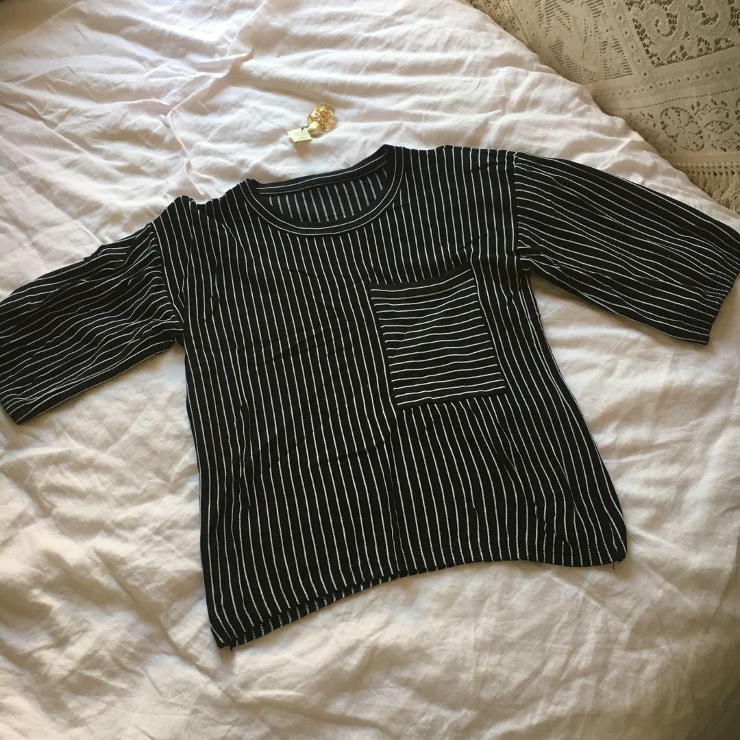 Black & White Striped Blouse | Best suited to Small-Medium | $10 + postage