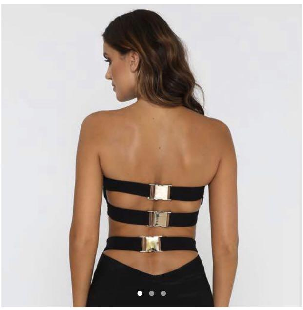 Brand new never worn - Meshki gold buckle strapless crop - size small fits 6-8
