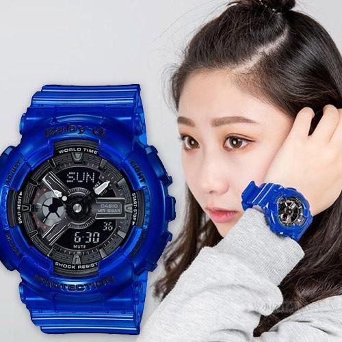 Casio COUPLE GA-110CR-2A & BA-110CR-2A G-Shock & Baby-G Analog Digital Sporty Design Classic Blue Resin Band Black Dial Original Watch