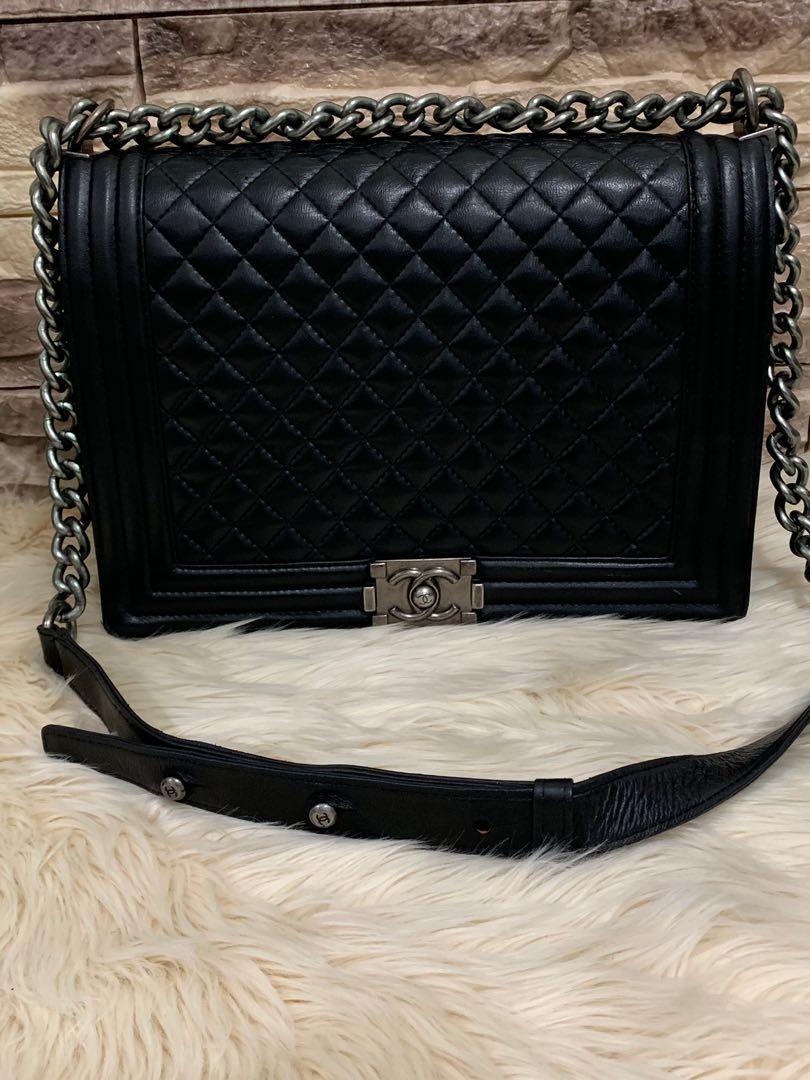 Chanel Boy SHW full leather 30 cm mirror 1:1 , 90% masih cakep tas only beli 5 jutaan