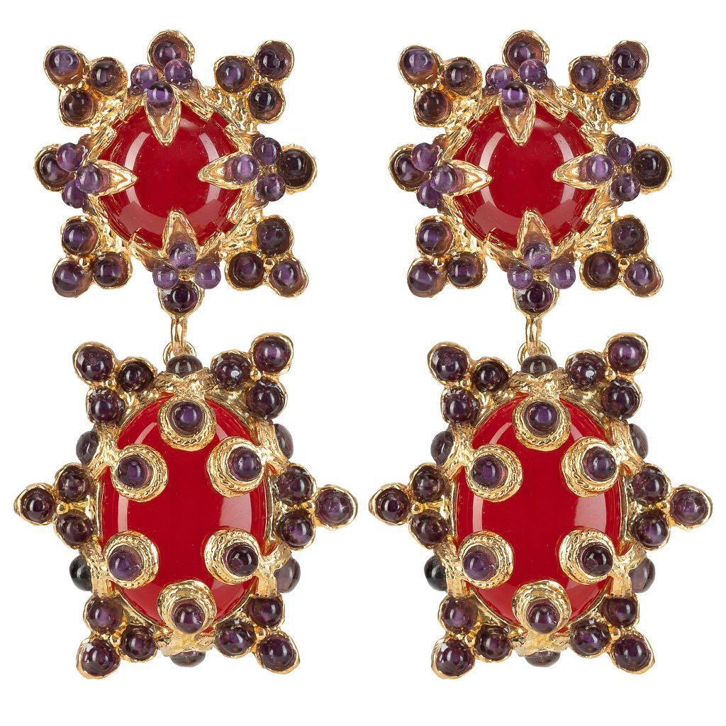 Christie Nicolaides Lucia Clip On Earrings Red & Amethyst