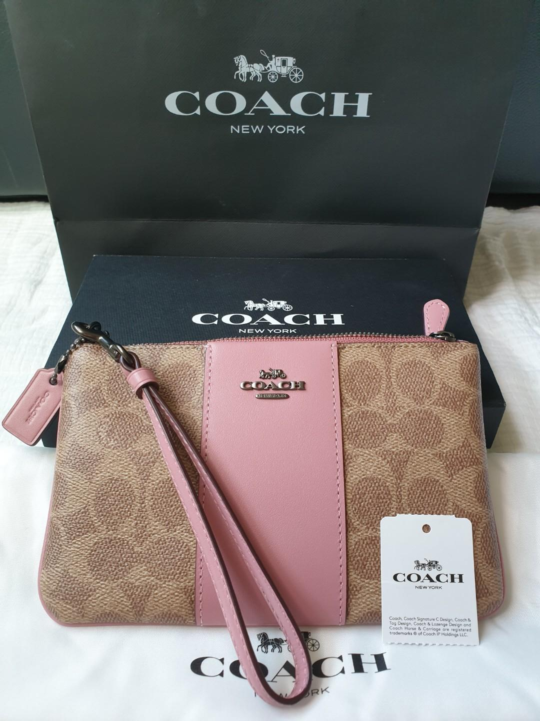 Coach Wristlet Coach Wallet Woman S Fashion Woman S Fashion Bags Coach Pink Pink Wristlet Coach Wallet Bag Women S Fashion Bags Wallets Wallets On Carousell