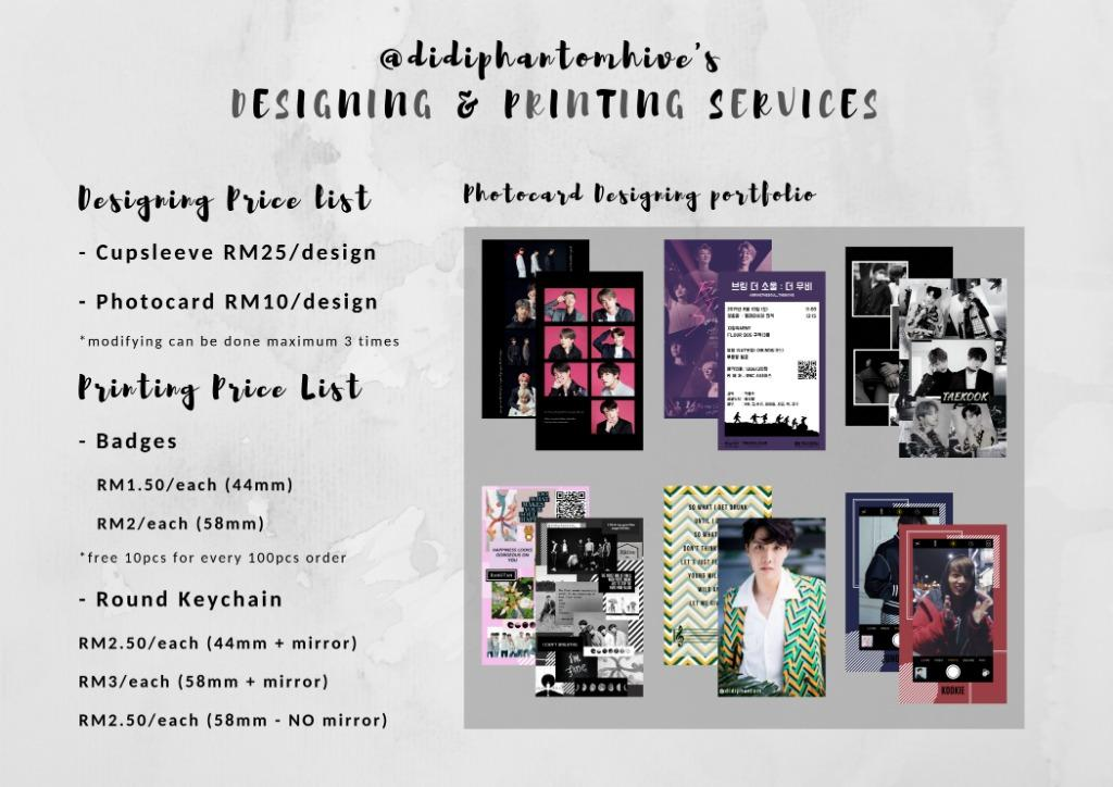 Designing/Printing Service for Cupsleeve/Photocard/Banner/Badges/LOMO