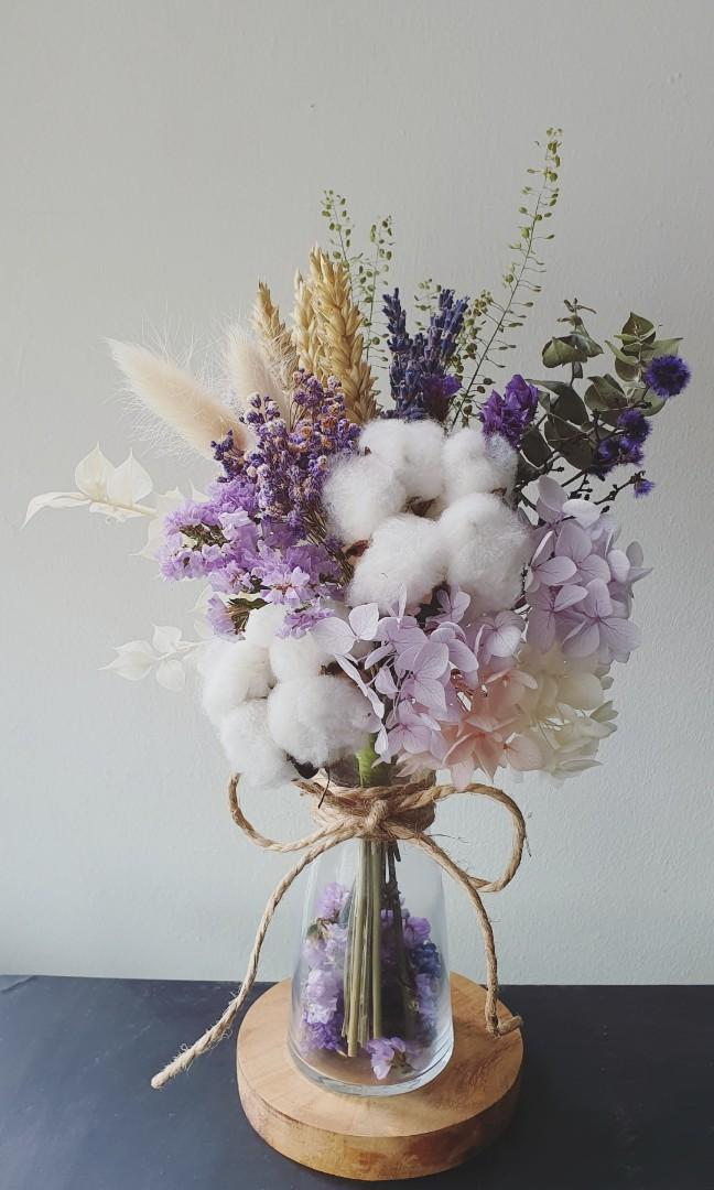 Dried Preserved Flowers Arrangement Petite Vase Violeting Purple Gardening Flowers Bouquets On Carousell