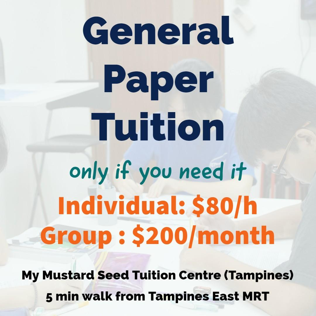 General Paper (GP) Tuition @ Tampines (Individual/Group)