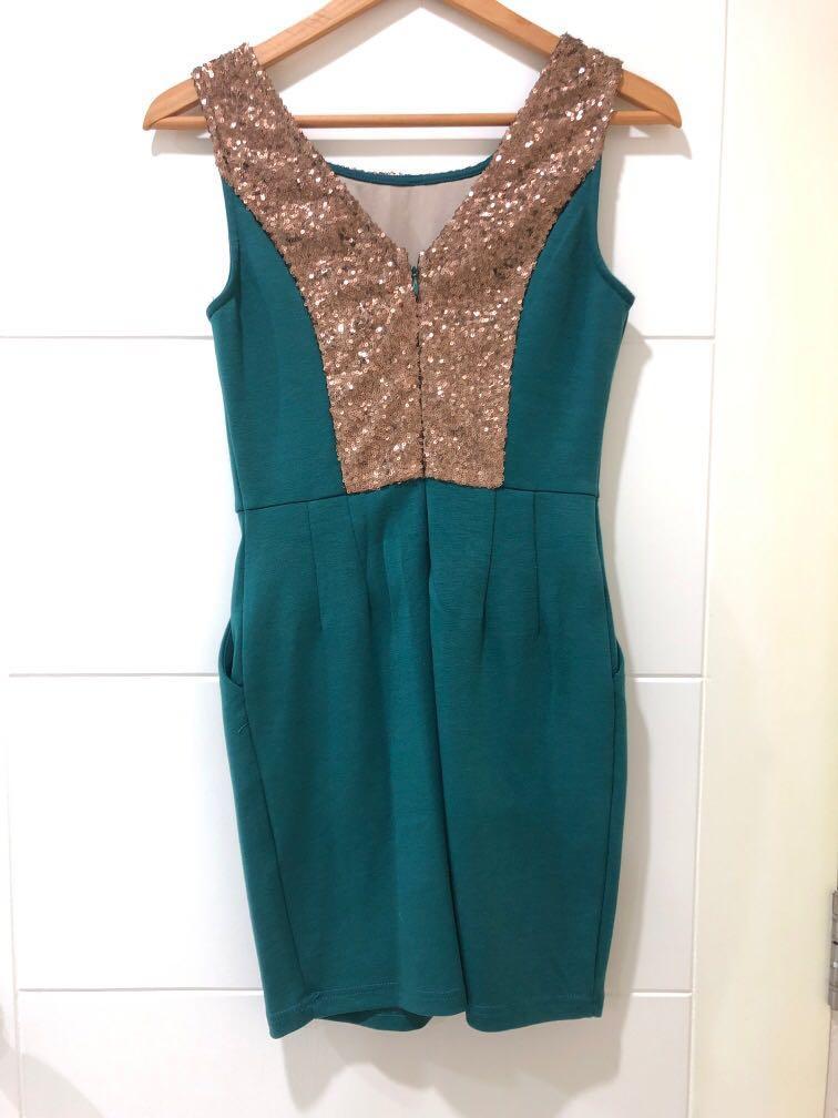 Green Golden Little Dress
