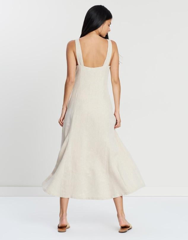 Hansen & Gretel Sunday Linen Midi Dress in Golden Sand - Size L RRP $319
