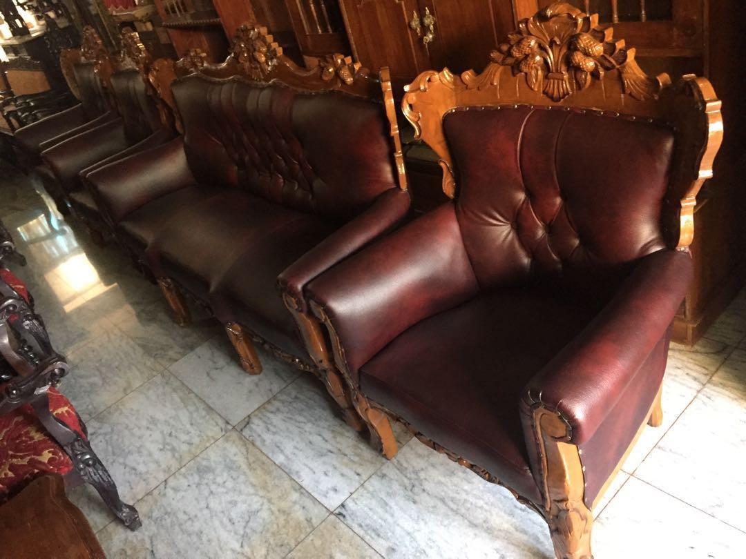 Kursi tamu jati sofa kulit mewah