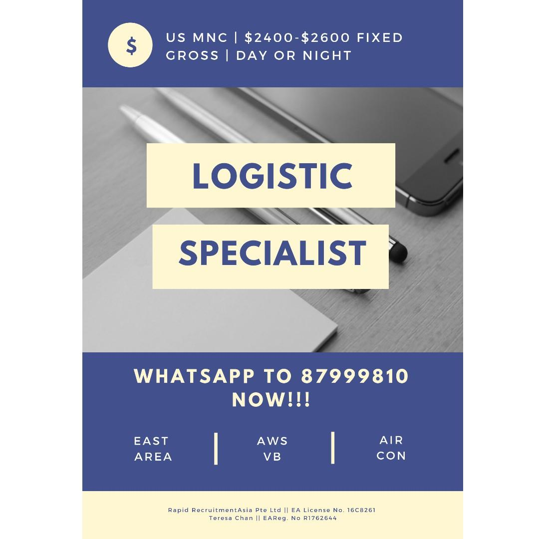 Logistic Specialist (Cash Processing | $2400 - $2600+)
