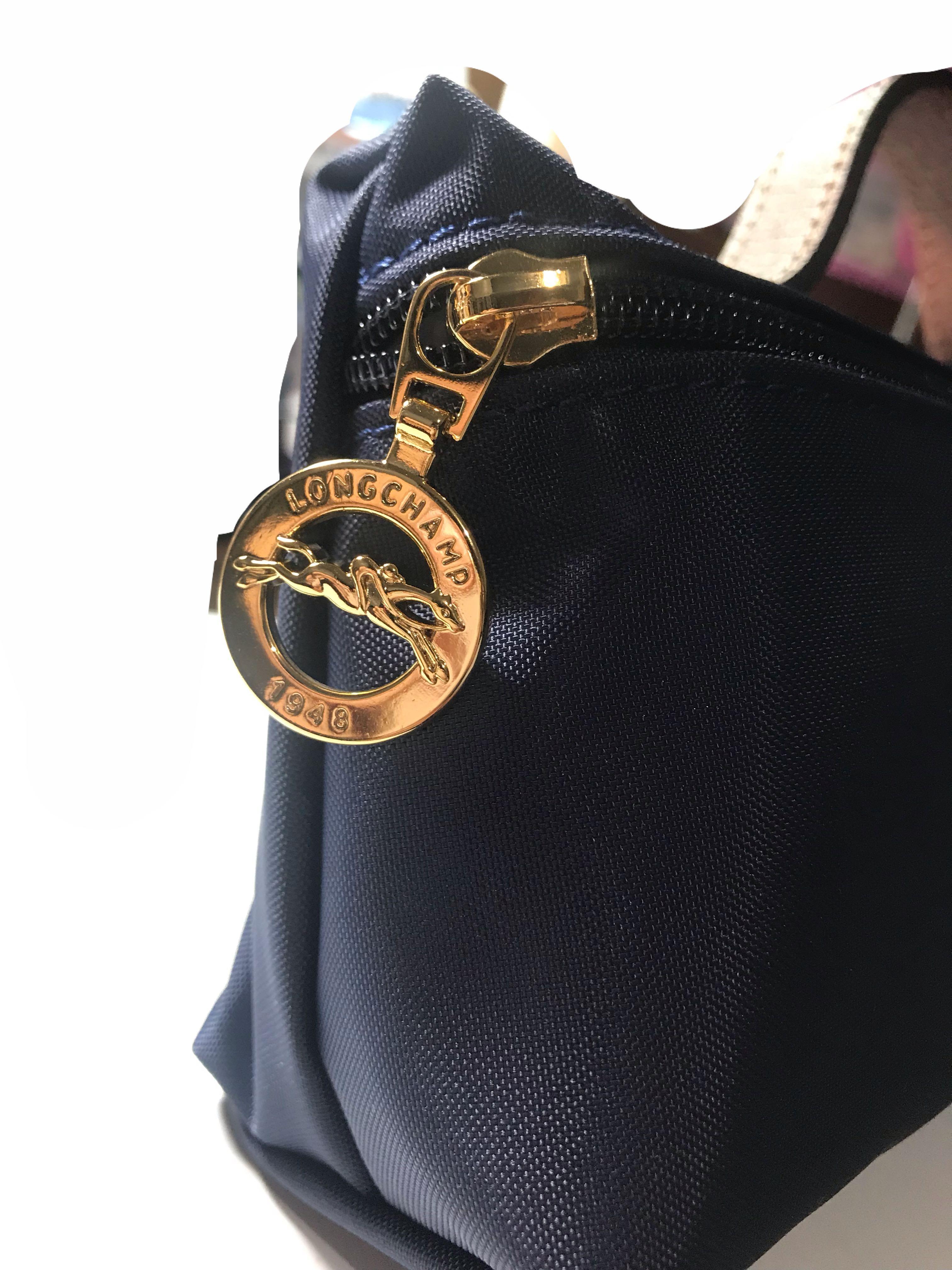 LONGCHAMP Le Pliage 牛皮LOGO帆布手提化妝包(海軍藍)