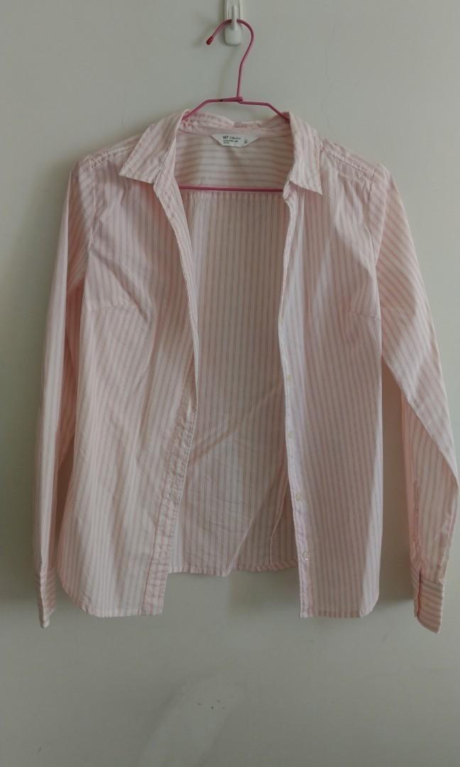 NET粉色條紋襯衫