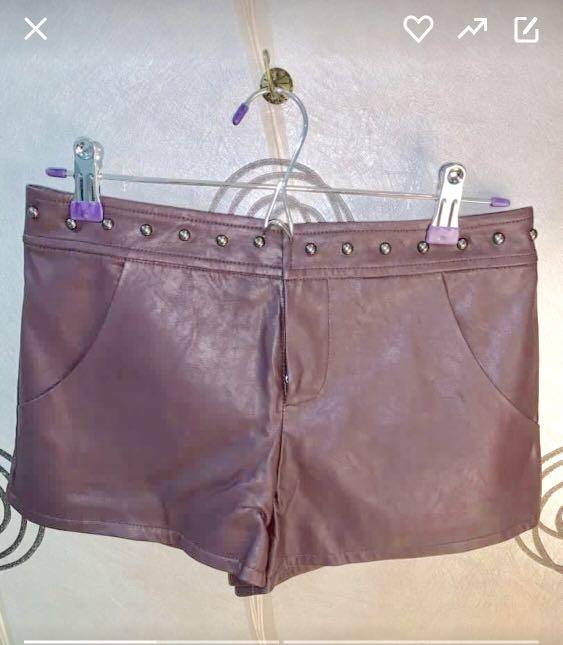 New Leather burgundy shorts