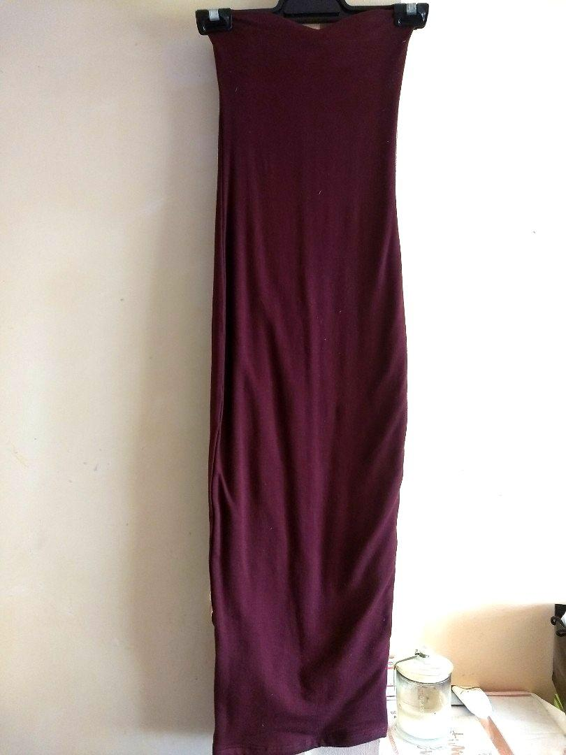 Oh Polly KEEP ME SWEET DOUBLE LAYERED STRAPLESS MIDI DRESS IN WINE