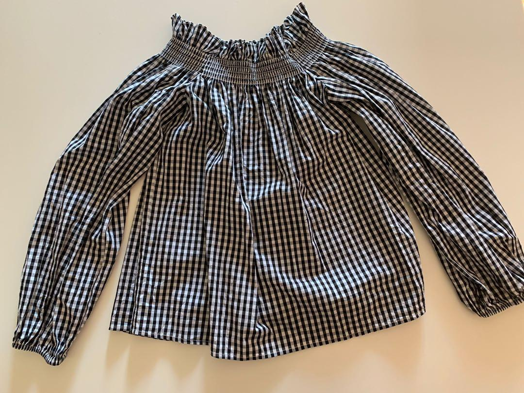 Sheike Size 10 Gingham Off the Shoulder Blouse