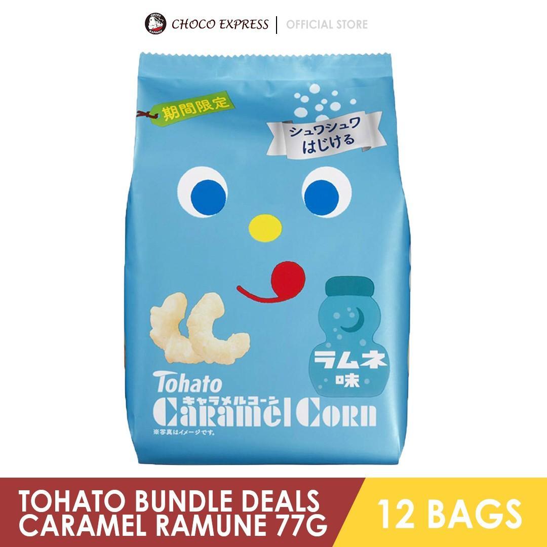 TOHATO CARAMEL CORN RAMUNE 77G (12 BAGS)
