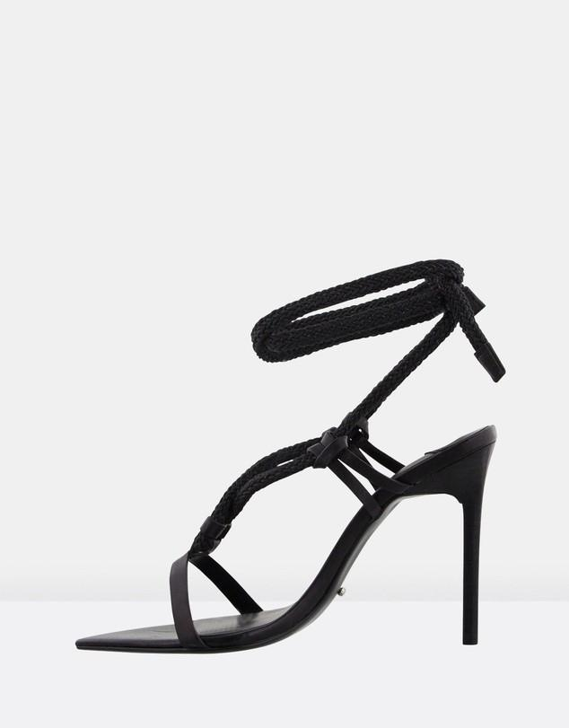 Tony Bianco Manu Rope Leather Heels in Black - Size 8 RRP $200