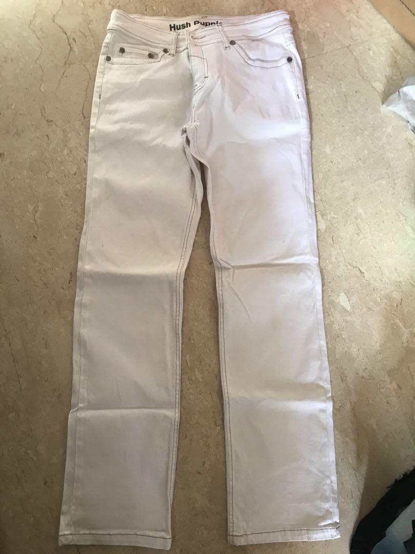 white hush puppies jeans