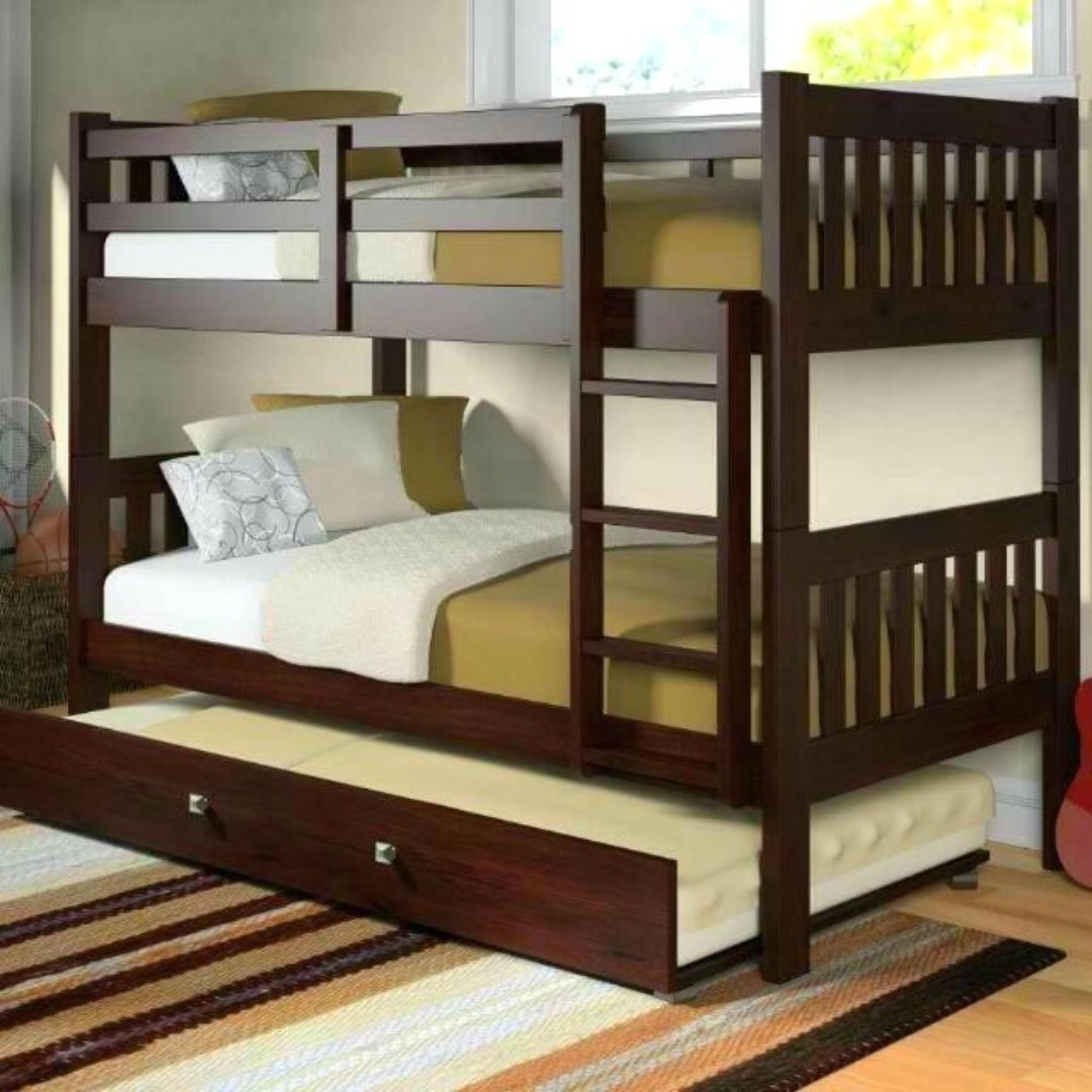 Wooden Bunk Bed With Pull Out Home Furniture Furniture Fixtures Beds Mattresses On Carousell