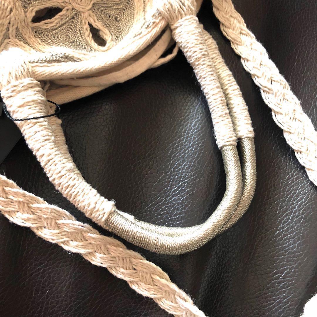 Zara 天然材質米色圓形托特包 手提包 側背包 斜背包 單肩包~原價1790元