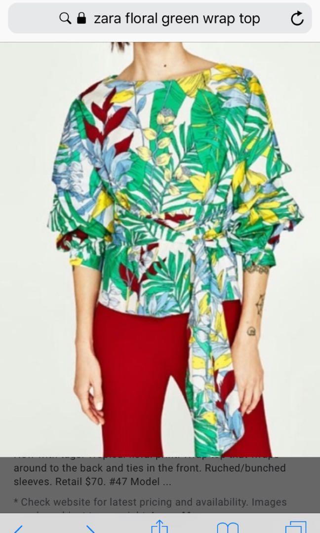 Zara tropical wrap top