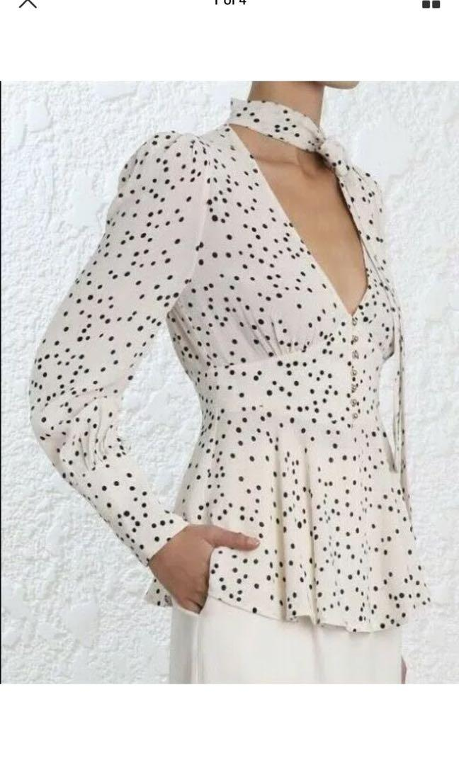 ZIMMERMANN Empire Blouse | Pearl Confetti | Black & White Pussy Bow| RP $450