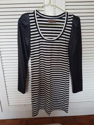 Mini Long Sleeves Black White Stripes Dress