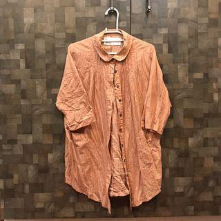 A la sha 條紋短袖襯衫罩衫