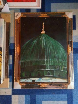 Lukisan Kubah Hijau Masjid Nabawi Medinah