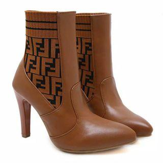 NEW sepatu ankle boots knit heels fendi import premium #joinoktober