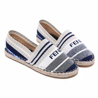 new sale sepatu sneakers knit espadrilles fendi stripe import prium #joinoktober