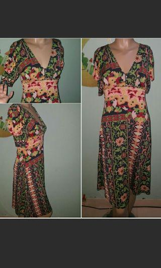 Dress Batik oriental motif vintage a line puff shoulder £joinoktober