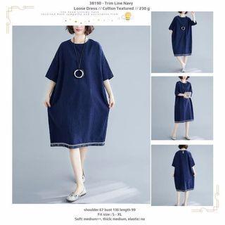 Trim Line Navy Loose Dress -38190