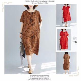 Red,Coffee Loose Pattern (M,L,XL) Dress -38171