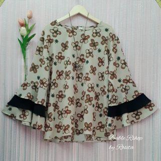NEW Bigsize Oversize Jumbo Blouse Lonceng Terompet Coklat Flower List  Import