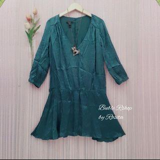 Mango Dress Tunik Green Emerald lengan 7/8