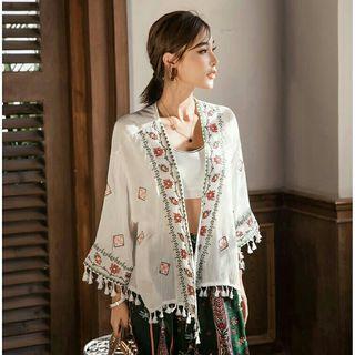 【全新】棉麻民族波西米亞風刺繡罩衫 薄外套