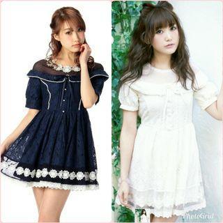 日本購入 日牌 liz lisa 甜美公主風 蘿莉塔 領口點點透肌網紗 有領  花朵珍珠釦 收腰 下擺鏤空花朵 連身洋裝