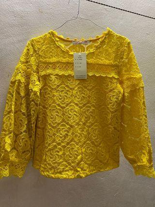 Women Tops Yellow Lace