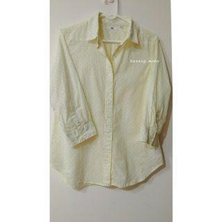 UNIQLO 亞麻棉鵝黃水玉點點七分袖襯衫