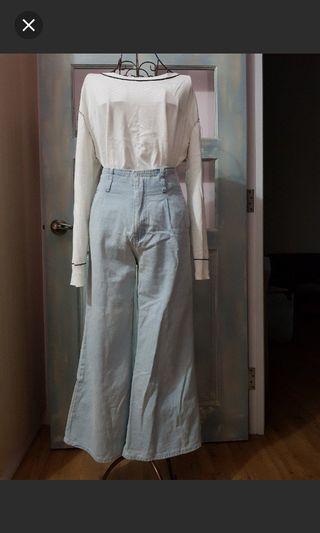 Meier.q淺藍色寬牛仔褲
