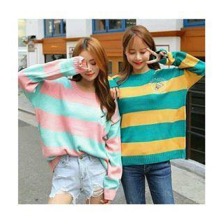 好賣+現在39$運費♥近新可愛甜美風寬鬆條紋毛衣