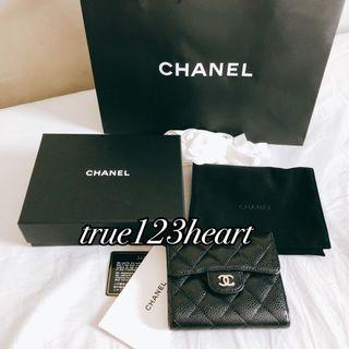 Chanel 經典牛皮短夾 銀扣 附保卡
