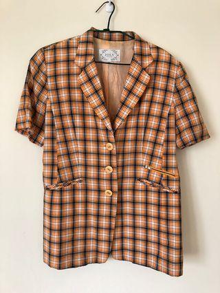 媽媽衣櫃 古著橘格紋短袖長版外套