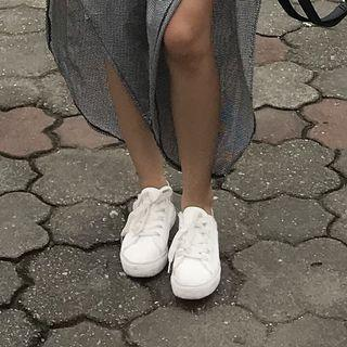 White Sneakers With Gray Snake Skin Combination