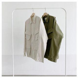 (全新僅試穿)正韓重磅四口袋工作外套 PAL plainme opoism smooth 古著 工裝