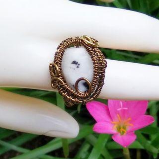 Zebra Jasper Tibet Agate Ring Wire Wrap Gemstone Ring Black White Stone Ring