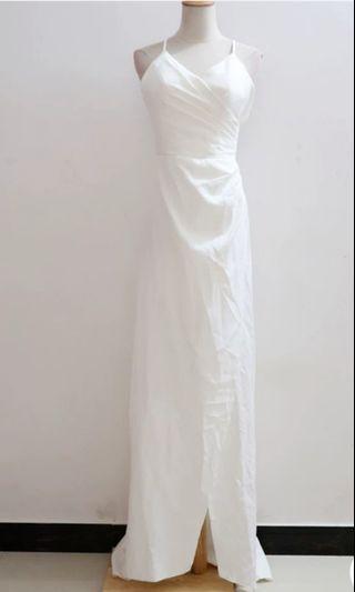 NEW ROM dinner White Dress wedding bridal simple S