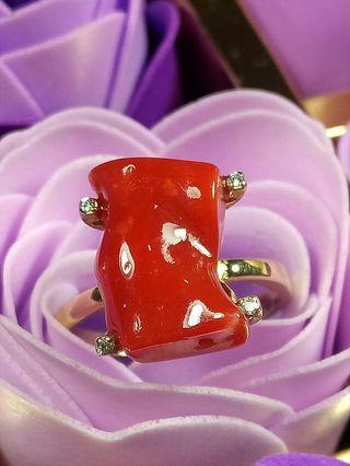 珊瑚純銀戒指